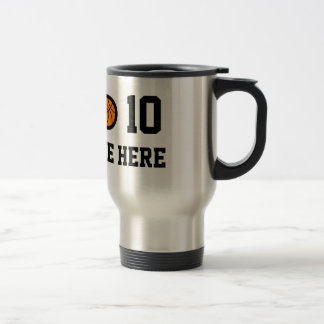 Personalized basketball travel mug with number