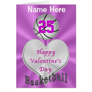Personalized Basketball Valentines Day Cards
