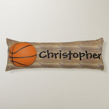 Personalized Basketball Wood Floor Body Pillow
