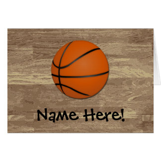 Personalized Basketball Wood Floor Greeting Card
