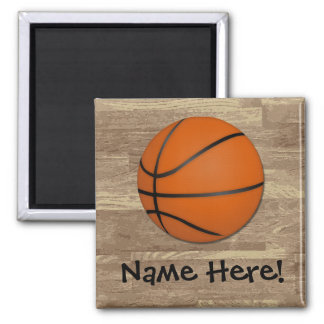 Personalized Basketball Wood Floor Magnet