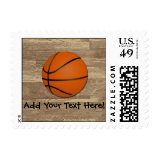 Personalized Basketball Wood Floor Postage Stamps
