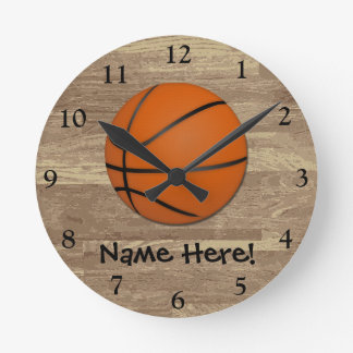 Personalized Basketball Wood Floor Round Clock