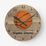 Personalized Basketball Wood Floor Round Clocks