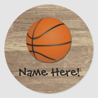 Personalized Basketball Wood Floor Classic Round Sticker