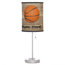 Personalized Basketball Wood Floor Table Lamp