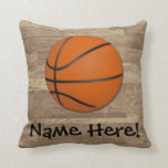 Personalized Basketball Wood Floor Throw Pillow