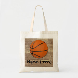 Personalized Basketball Wood Floor Tote Bag