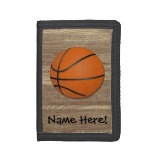 Personalized Basketball Wood Floor Tri-fold Wallet
