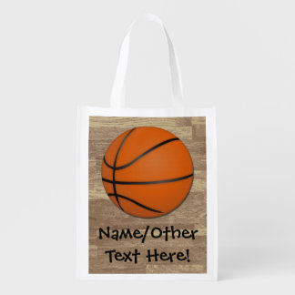 Personalized Basketball Wood Floor Market Totes