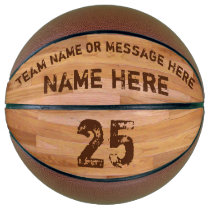 Personalized Basketballs, 3 Text Boxes, Wood Floor Basketball