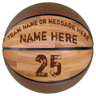 Personalized Basketballs with 3 Text Boxes, Wood Floor Basketball image