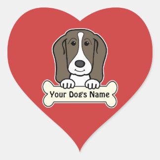 Personalized Basset Hound Heart Sticker