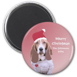 Personalized Basset Hound Santa Magnets