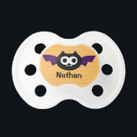 """Personalized Bat Halloween Pacifier<br><div class=""""desc"""">This cute Halloween pacifier features a funny little bat on an orange polka dot patterned background.</div>"""