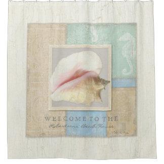 Personalized Bathroom Decor Beach House Shell Art Shower Curtain