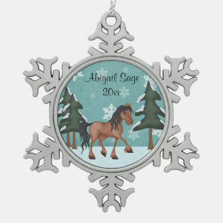 Personalized Bay Horse Winter Woodland Holiday Snowflake Pewter Christmas Ornament