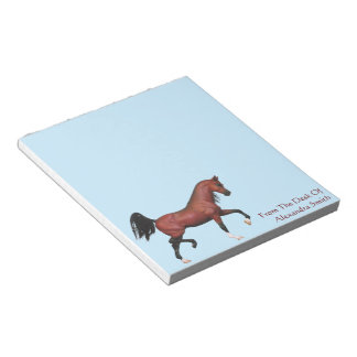 Personalized Bay Trotting Arabian Horse Art Notes