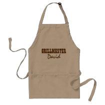 Personalized BBQ grillmaster khaki apron for men