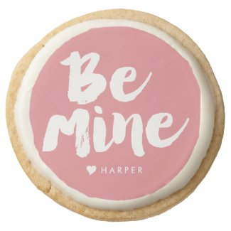 Personalized Be Mine Edible Gift - Pink & Gold Round Premium Shortbread Cookie