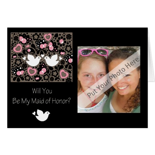 Personalized Be My Maid of Honor Photo Invitation Greeting Card