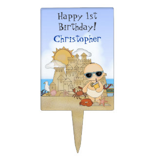 Personalized Beach Baby 1st Birthday Cake Topper