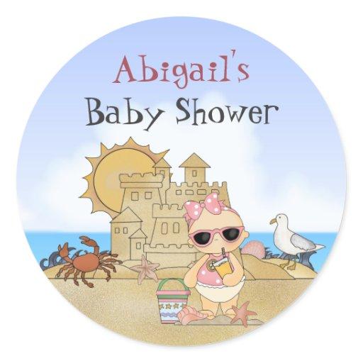 personalized beach baby girl baby shower stickers zazzle