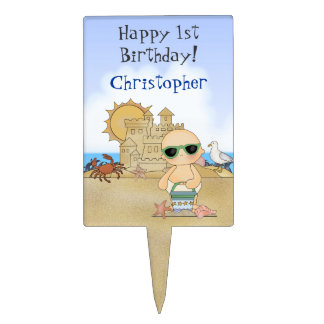 Personalized Beach Baby Happy 1st Birthday ~ Boys Cake Topper