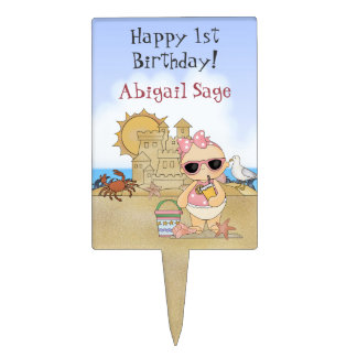 Personalized Beach Baby Happy 1st Birthday ~ Girls Cake Topper