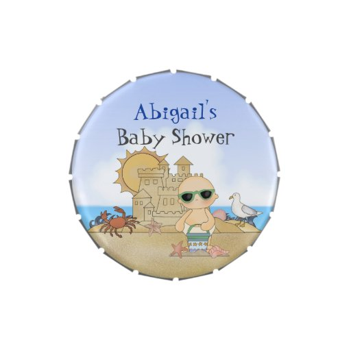 personalized beach baby shower candy tin favors zazzle