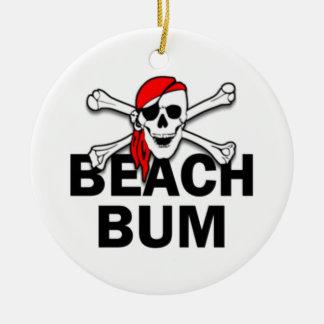 Personalized Beach Bum Skull Pirate Ornament