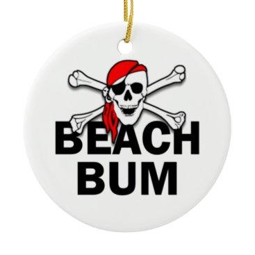 Beach Themed Personalized Beach Bum Skull Pirate Ornament