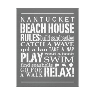 Personalized Beach House Rules Gray | White Canvas Print