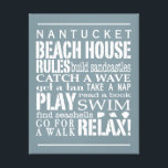 "Personalized Beach House Rules Gray | White Canvas Print<br><div class=""desc"">Trendy beach themed wall art in a soft weathered blue with lettering in white. Customize with your family name or favorite seaside location and let everyone know the &quot;rules&quot; of the beach house that need to be followed. From building sandcastles to searching for seashells, the order of the day is...</div>"