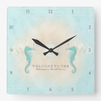 Personalized Beach House Welcome Sign Seahorses Square Wall Clock