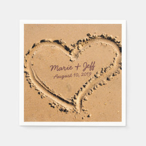 Personalized Beach Love Wedding Heart Napkin