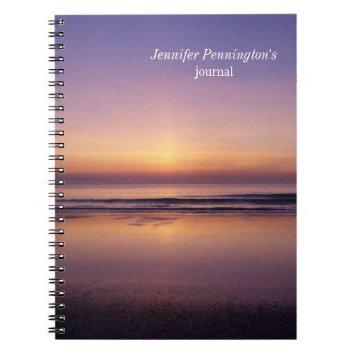 Personalized beach sunrise photo notebook journal