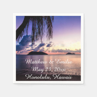 Personalized Beach Sunset Wedding Napkins