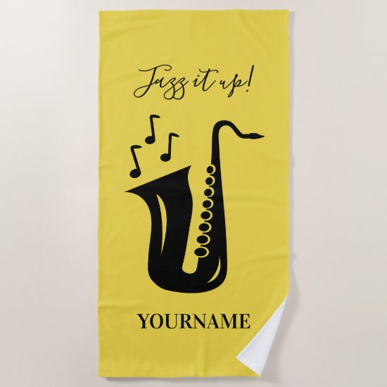 Personalized beach towel gift for saxophone player