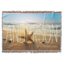 Personalized Beach Wedding Beach House Custom Throw Blanket