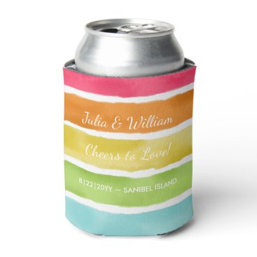 Beach Themed Personalized Beach Wedding Fun Colorful Striped Can Cooler