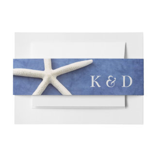 Personalized Beach Wedding White Star Fish on Blue Invitation Belly Band