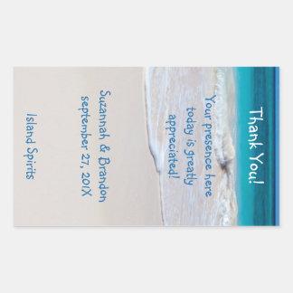 Personalized Beach Wedding Wine Label Template Rectangular Sticker