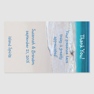 Personalized Beach Wedding Wine Label Template Rectangle Stickers