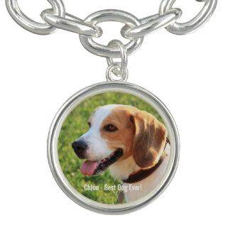 Personalized Beagle Dog Photo and Dog Name Charm Bracelets