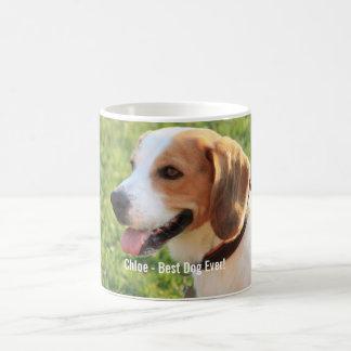 Personalized Beagle Dog Photo and Dog Name Coffee Mug