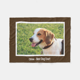 Personalized Beagle Dog Photo and Dog Name Fleece Blanket