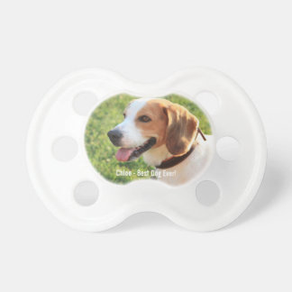 Personalized Beagle Dog Photo and Dog Name Pacifier