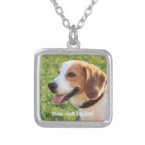 Personalized Beagle Dog Photo and Dog Name Silver Plated Necklace