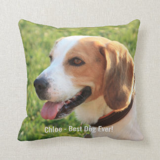Personalized Beagle Dog Photo and Dog Name Throw Pillow